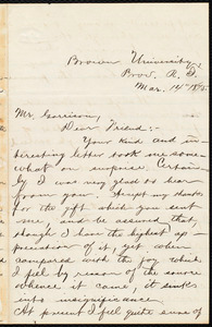Letter from George Washington Milford, Prov[idence], R.I., to William Lloyd Garrison, Mar[ch] 14 1875