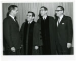 Senator Walter Mondale, Rabbi Robert Shapiro, Rabbi Max Shapiro and Mayor Naftalin, Minneapolis, Minnesota