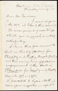 Letter from Aaron Macy Powell, Hudson, N.Y., to William Lloyd Garrison, Feb[ruary] 18. [18]58