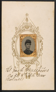 [Lieutenant James S. Matthews of Co. A, 4th Illinois Cavalry Regiment, and Co. A, 3rd U.S. Colored Troops Cavalry Regiment in uniform]