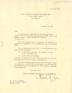 Letter from Paul Lawrence Dunbar Garden Apartments to W. E. B. Du Bois