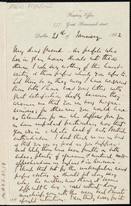 Letter from Richard Davis Webb, Printing Office, 177 Great Brunswick Street, Dublin, [Ireland], to Anne Warren Weston, 21st of January 1862