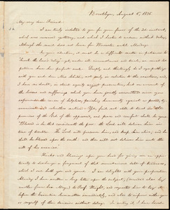 Letter from William Lloyd Garrison, Brooklyn, [Conn.], to David Lee Child, August 6, 1836