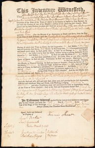 Document of indenture: Servant: Lynch, Christopher. Master: Shaw, Francis. Town of Master: Boston