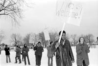 School Busing . for desegregation Detroit First days of Busing Plan . -Busing to Various Schools. Parents and teachers greeting children as they arrive at William Robinson School