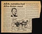 """""""ADA, notables hail Afro-Asian meet"""", newspaper clipping, Daily People's World"""