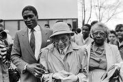 Rosa Parks on her 75th birthday at Rosa Parks Day in Tuskegee, Alabama.