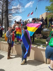 Students with Pride flags