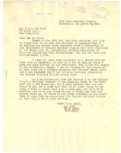 Letter from R. E. Ray to W. E. B. Du Bois