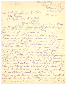 Letter from Frances Hamilton Archer to W. E. B. Du Bois