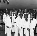 Al-Kadosh Shrine Temple members posing together, Los Angeles, 1976