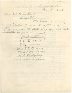 Letter from unidentified correspondent to W. E. B. Du Bois