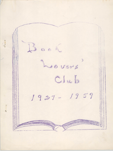 """Book Lovers' Club, 1927-1959"""