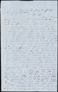 A. J. McElveen, Sumterville, S.C., autograph letter signed to Ziba B. Oakes, 25 July 1854