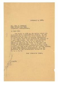 Letter from W. E. B. Du Bois to Alva B. Johnson