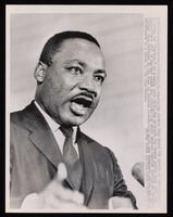 "AJP101202-10-12-65 Crawfordville, Ga. Dr. Martin Luther King..."" speaking to rally. 20th century photograph, 9 x 7"