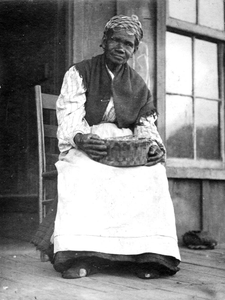 African-American woman with basket