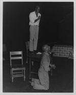 "Kenny Leon and Michael Keck performing in ""Sizwe Bansi Is Dead,"" at 7 Stages Theatre, Atlanta, Georgia, September 25 - October 19, 1986"