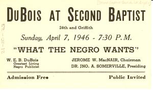 Du Bois at Second Baptist