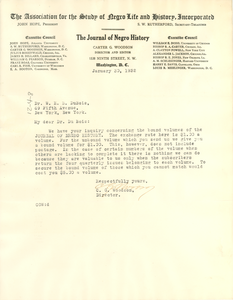Letter from The Journal of Negro History to W. E. B. Du Bois
