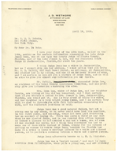 Letter from J. D. Wetmore to W. E. B. Du Bois
