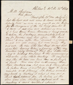 Letter from Edward Morris Davis, Philad., [PA], to Maria Weston Chapman, 12th Mo[nth] 25th [day] 1841
