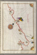 fol. 148b Adriatic coastline from Drač north of Karaburun as far as Budva Walters Ms. W.658, Book on navigation, Kitāb-i baḥriye