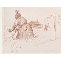Drawing of an African American woman in a field