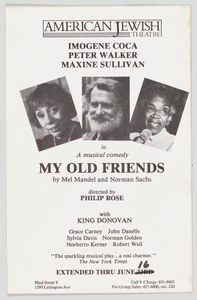 """Flier advertising """"My Old Friends"""" at the American Jewish Theatre"""