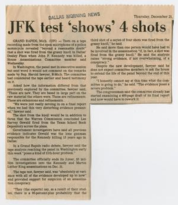 Newspaper Clipping: JFK test 'shows' 4 shots