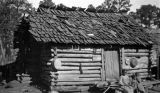 Three African American children in front of a cabin in Wilcox County, Alabama.