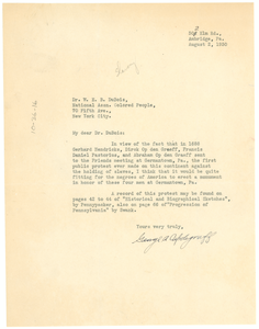 Letter from George A. Updergraff to W. E. B. Du Bois