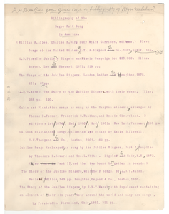 Bibliography of the Negro folk song in America