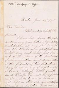 Letter from Josephine St. Pierre Ruffin, Boston, [Mass.], to William Lloyd Garrison, Jan[uary] 13th 1875