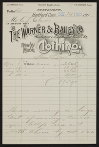Billhead for The Warner & Bailey Co., ready made clothing, Hartford, Connecticut., dated September 23, 1902