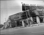 Burned appliance store, Los Angeles, 1965