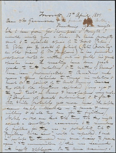 Letter from George W. Putnam, Toronto, [Ontario], to William Lloyd Garrison, 1851 April 13th
