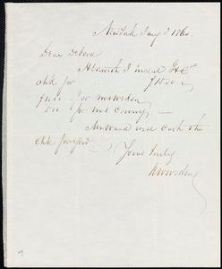 Letter from Richard Warren Weston, New York, to Deborah Weston, Jan'y 3, 1860