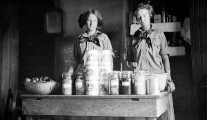 Canning Club (white) Barker girls, members, showing goods put up