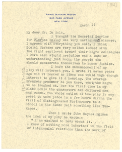Letter from Annie Nathan Meyer to W. E. B. Du Bois