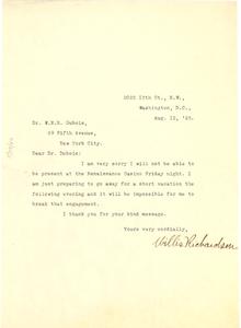 Letter from Willis Richardson to W. E. B. Du Bois