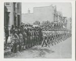 View of assembled troops of the 15th Infantry Regiment of the New York National Guard, later renamed the 369th Infantry, circa 1918