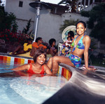Gwen and Iris Gordy at Berry Gordy's house party, Los Angeles