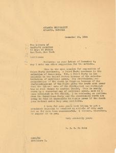 Letter from W. E. B. Du Bois to Harper's Magazine