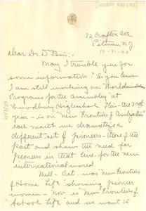 Letter from Rachel Davis DuBois to W. E. B. Du Bois