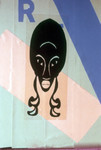 Painting: stylized woman's face with the letter R
