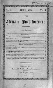 The African Intelligencer, vol.1, no. 1, July 1820