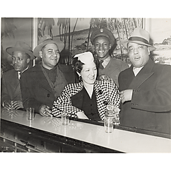 """Emmanuel Jew"""" McPherson, his wife, and three men at the bar in Crawford Grill No. 2"""""""