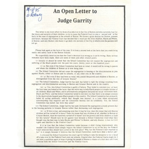 An open letter to Judge Garrity.