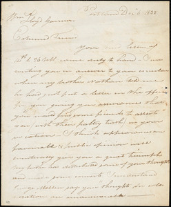 Letter from Isaac Winslow, Portland, [Maine], to William Lloyd Garrison, 1832 Dec[ember] 6